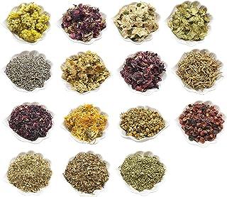 PEPPERLONELY 15 Packs Organic Kosher Certified Botanical Dried Edible Flowers & Herbs Sampler Kit - Lavender, Rose Buds & ...