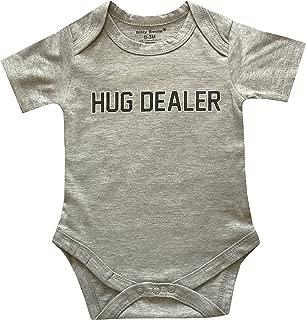 Silly Souls, Inc Hug Dealer, Cool Newborn Baby Boys Short Sleeve Cotton Onesie, Grey