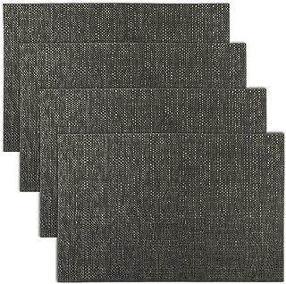 Texture Design Woven PVC Placemat (Black), Set of 4
