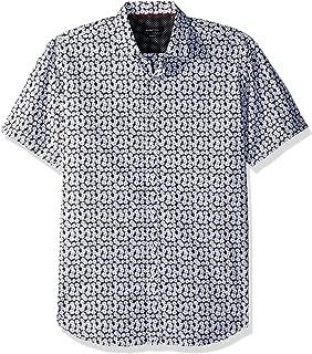 Bugatchi Men's Shaped Fit White Daisies Print Short Sleeve Shirt