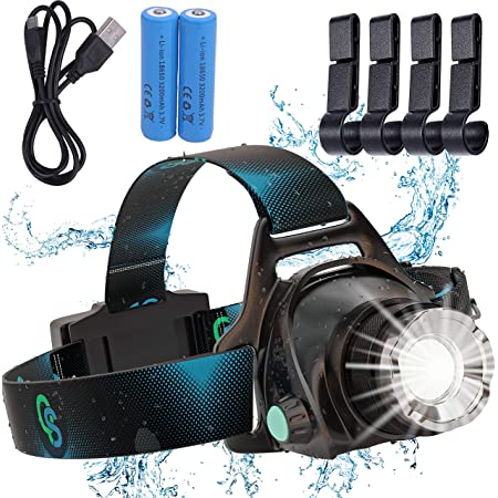 Rechargeable Headlamp, Hard Hat Light – Adults LED Headlamp Flashlight, Perfect Headlamps for Camping, Head Lamps for Adults, Head Flashlight, Lamparas Recargables.by QS USA (Single LED)