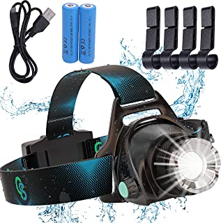 Rechargeable Headlamp, Hard Hat Light – Adults LED Headlamp Flashlight, Perfect Headlamps for Camping, Head Lamps for Adul...