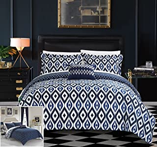 Chic Home 4 Piece Normani Reversible Ikat Diamond and Contemporary Geometric Pattern Print Technique Queen Duvet Cover Set Navy