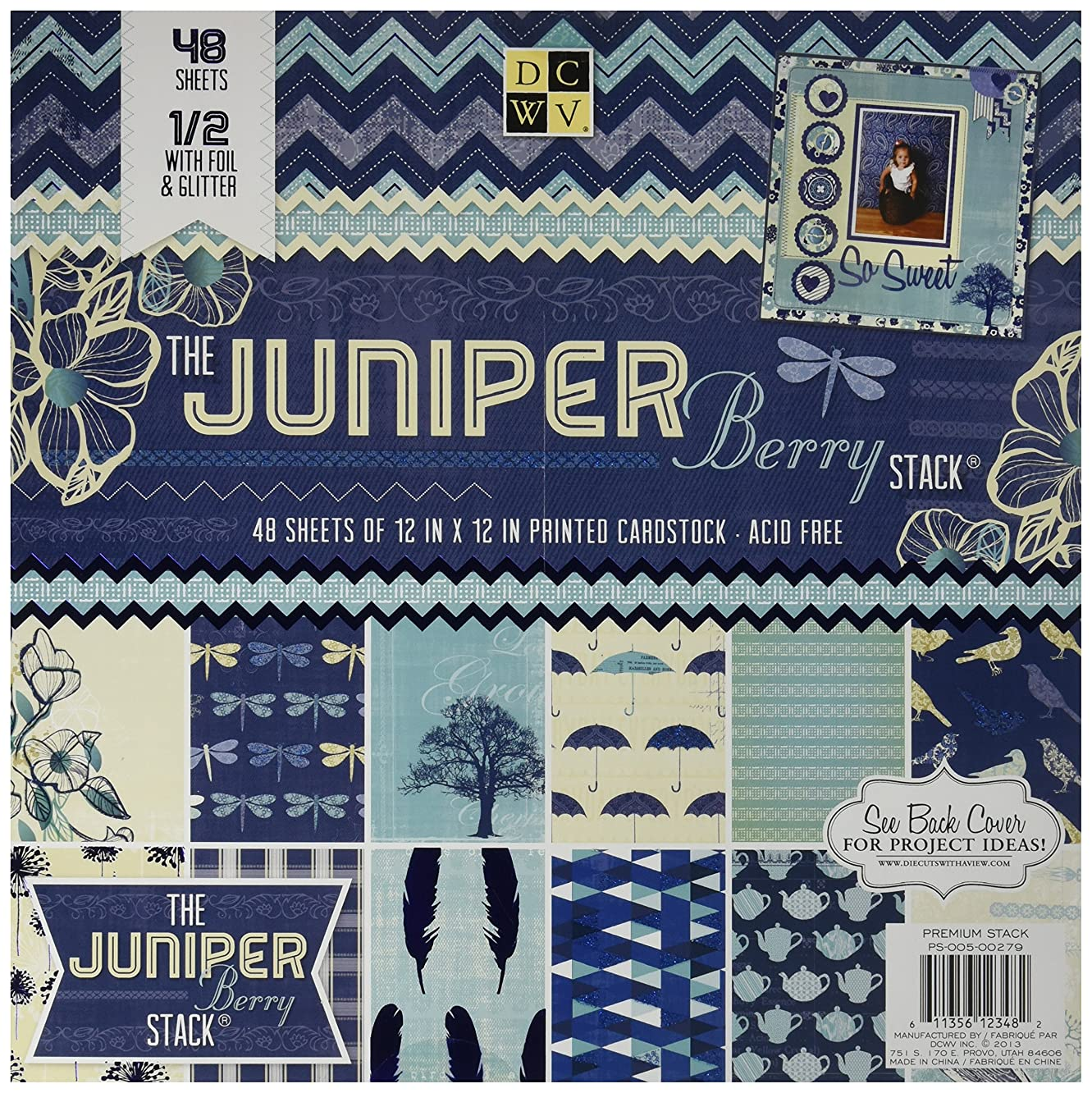 Die Cuts With A View 48-Sheet Premium Stack, 12-inches by 12-inches, Juniper Berry