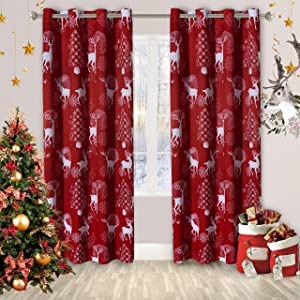 LORDTEX Deer & Snow Print Christmas Curtains for Living Room and Bedroom - Thermal Insulated Blackout Curtains, Noise Reducing Window Drapes, 52 x 84 Inches Long, Burgundy Red, Set of 2 Curtain Panels