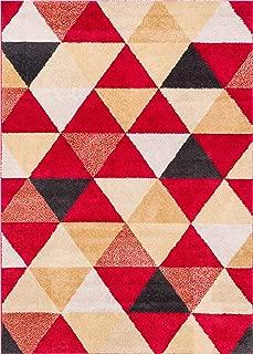 HomeWay Pattern Rugs - Triangle Modern Area Rug Red 5' x 7' Carpet