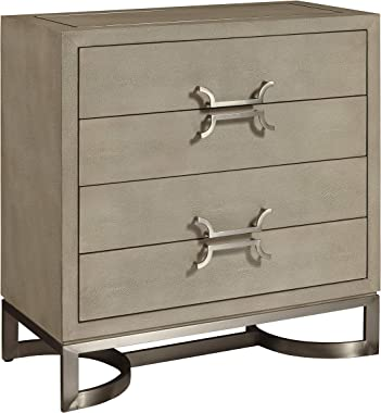 Right2Home Shagreen and Metal Drawer Light Gray Storage Chest, Grey