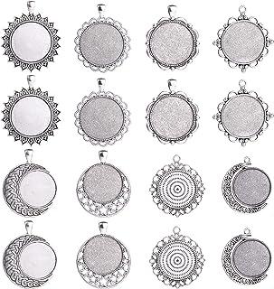 5pcs 18mm Round Cabochon Base Setting 18mm Bezel Pendants,Antique Silver Tone-b2069-B
