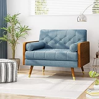 Christopher Knight Home Greta Mid Century Modern Fabric Club Chair, Blue, Dark Walnut