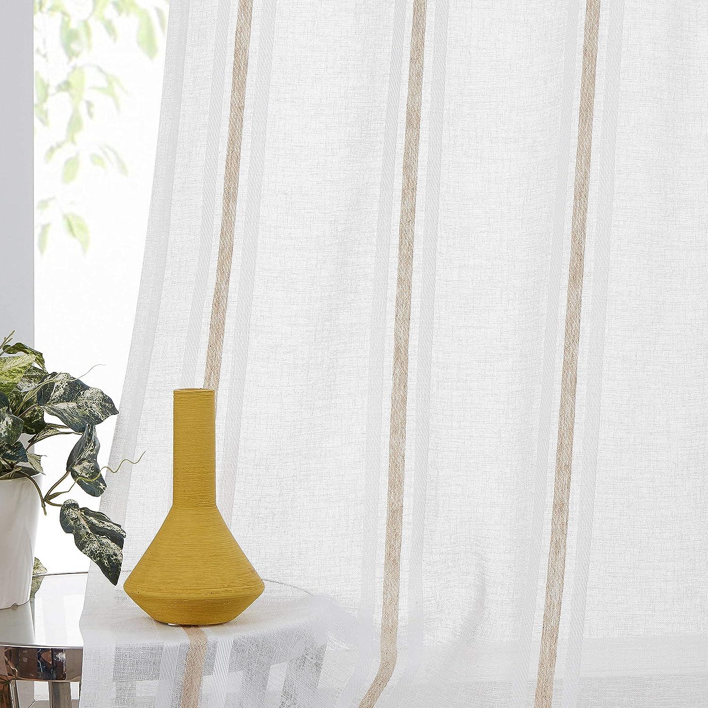 WEST LAKE Pinstripes Semi Sheer Voi Award-winning store Curtain Over item handling ☆ Linen Panels Texture