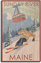 Lantern Press Sunday River, Maine - Skier and Tram (10x15 Wood Wall Sign, Wall Decor Ready to Hang)
