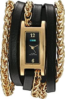 La Mer Collections Women's Quartz Gold-Tone and Leather Watch, Color:Black (Model: LMPALERMO1001)