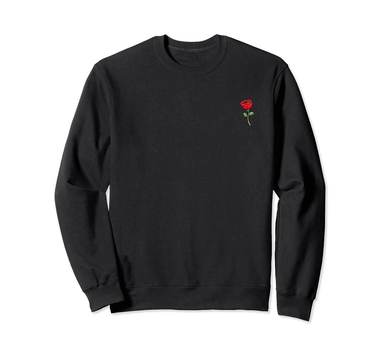 Rose Flower Pocket Corner Trendy Cute Shirts Crewneck Sweater