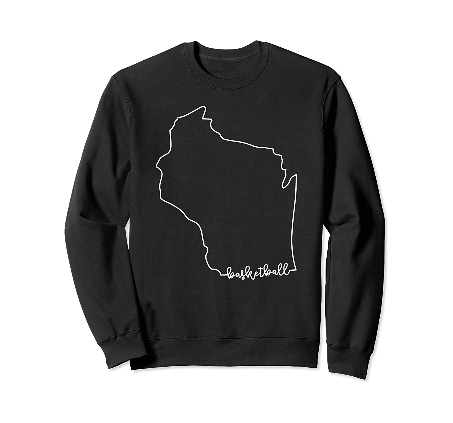 State Of Wisconsin Outline With Basketball Script Acj299b T-shirt Crewneck Sweater