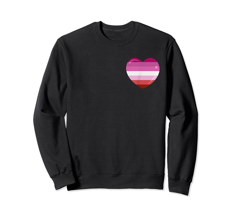 Heart Pocket Lesbian Flag Cute Lgbt Rainbow Gay Pride Gift Shirts Crewneck Sweater
