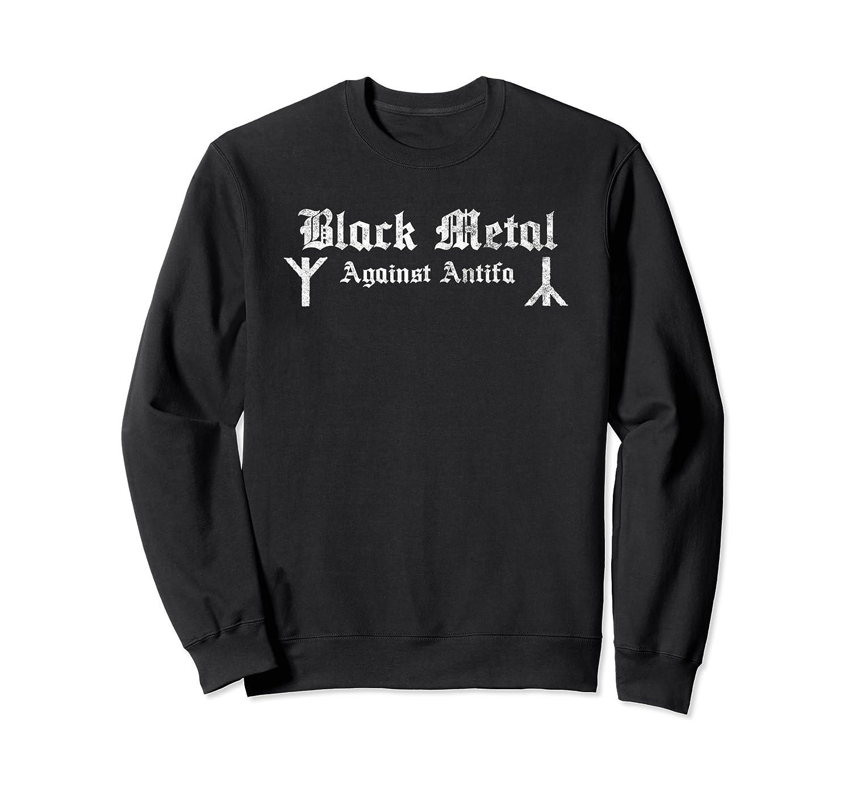 Black Metal Against Antifa Algiz Rune Graphic T-shirt Crewneck Sweater
