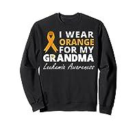 I Wear Orange For My Grandma T Shirt Ribbon Family Warrior Sweatshirt Black