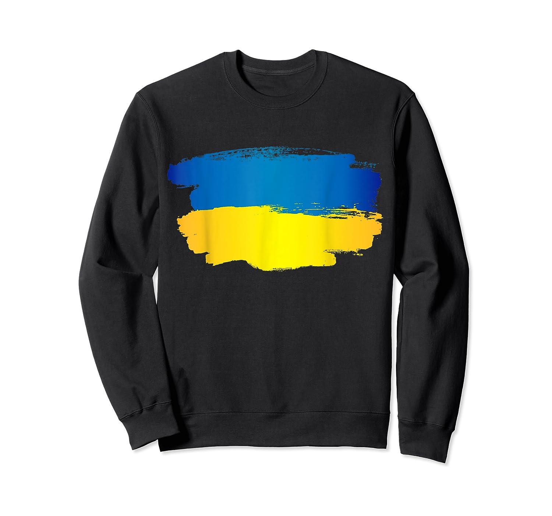 Ukraine Flag Paint Style T-shirt Crewneck Sweater