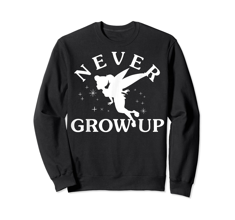 Disney Peter Pan Tinker Bell Never Grow Up Text Silhouette T-shirt Crewneck Sweater