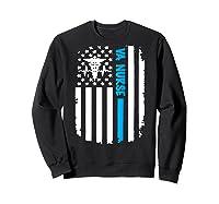 Va Nurse Distressed American Flag Short Sleeve Tshirt Sweatshirt Black