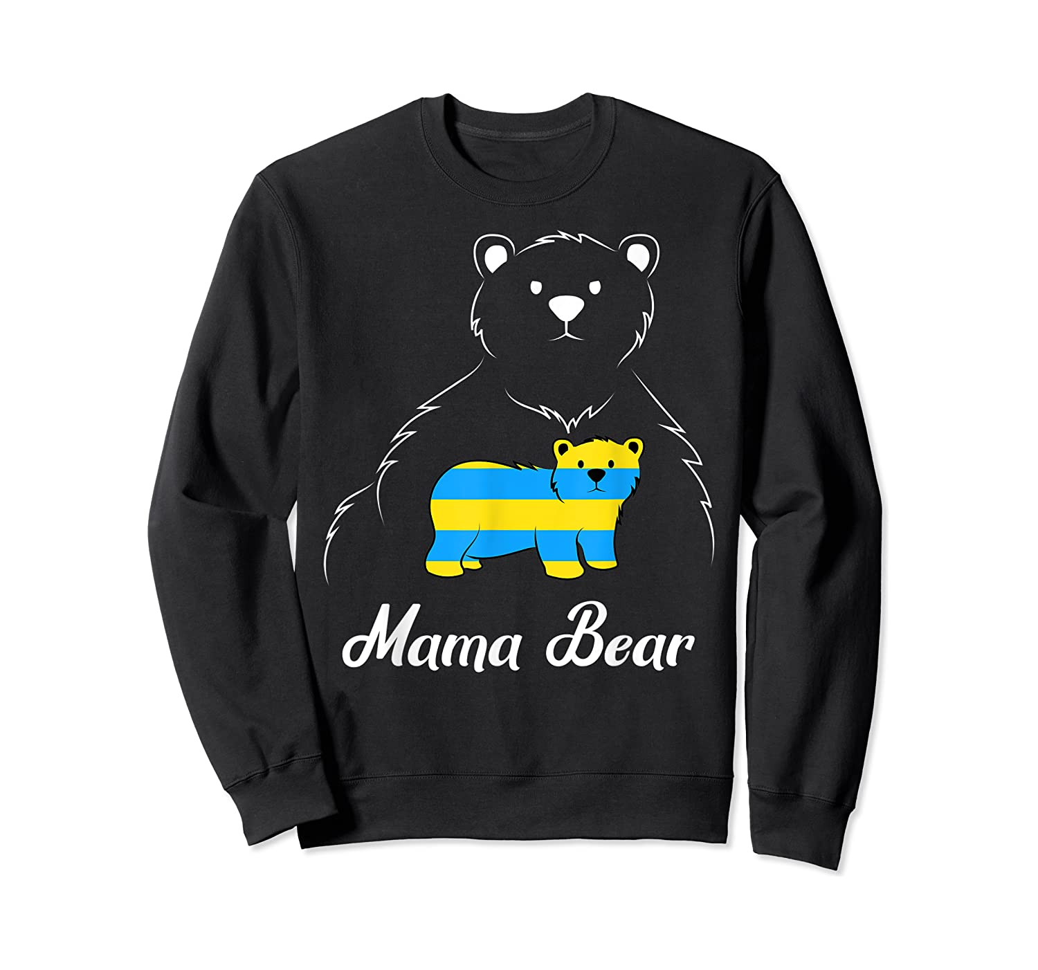 Down Syndrome Mom Awareness Trisomy 21 Gold Blue Ribbon Gift T-shirt Crewneck Sweater