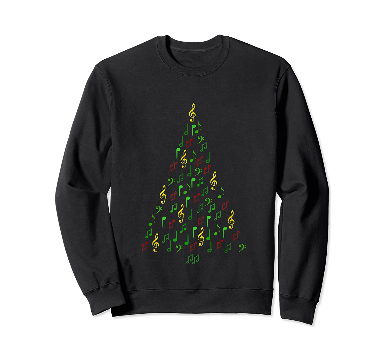 Music Christmas Tree With Notes And Clefs For Musicians Shirts Crewneck Sweater