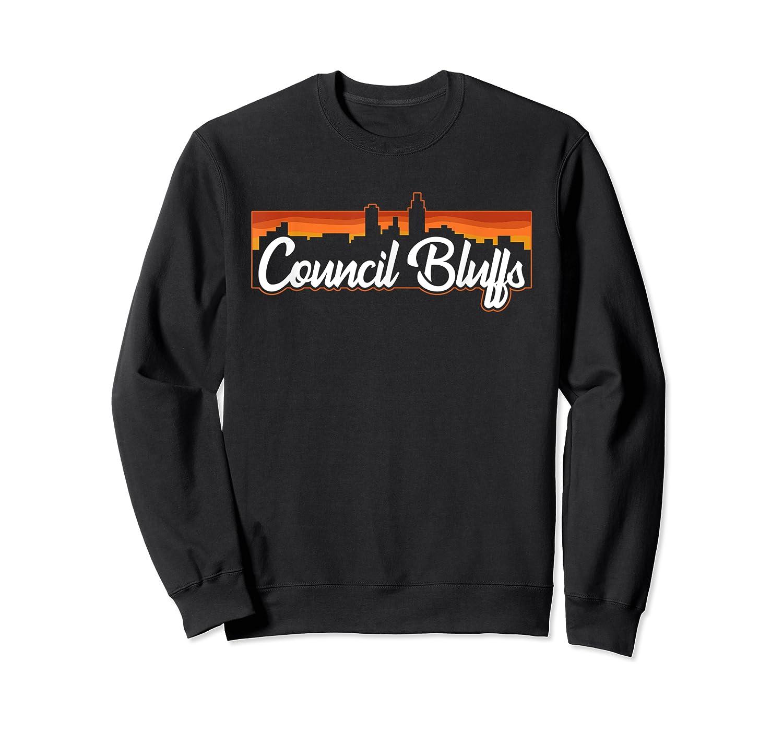 Vintage Style Retro Council Bluffs Iowa Sunset Skyline Shirts Crewneck Sweater