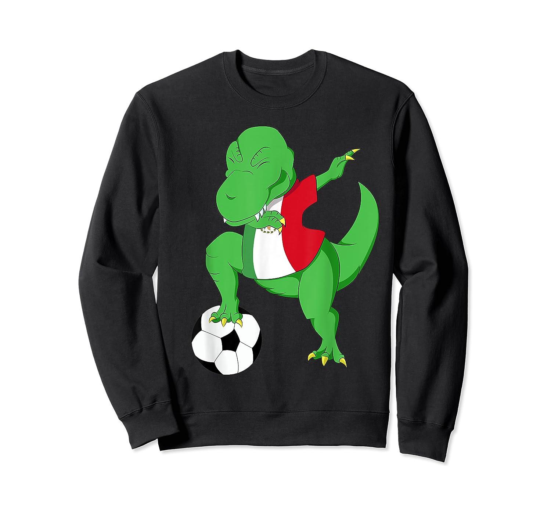Dabbing Soccer T-rex Mexico Shirt - Mexican Football Crewneck Sweater