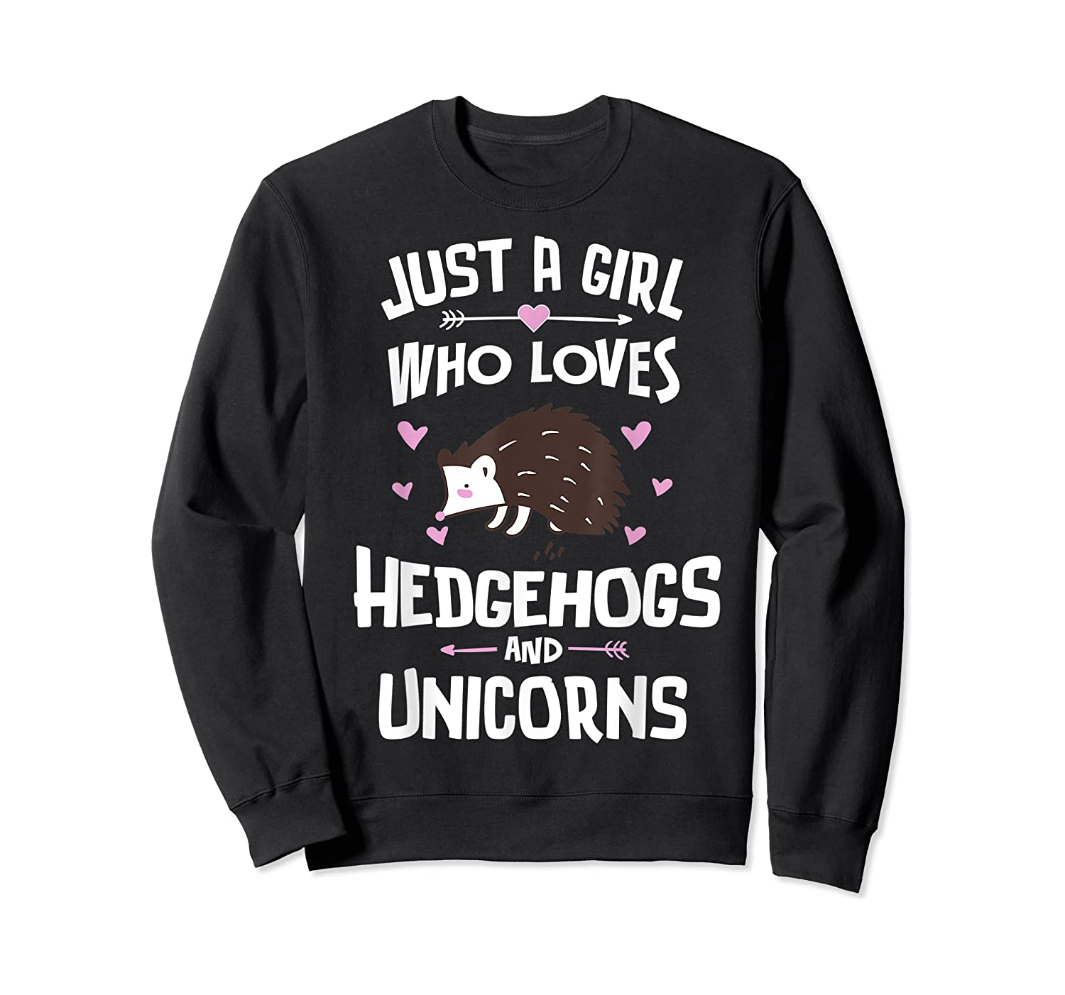 Just A Girl Who Loves Hedgehogs And Unicorns Gift Shirts Crewneck Sweater