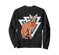 Vintage Geometric Sphynx Cat T-shirt Sweatshirt Black