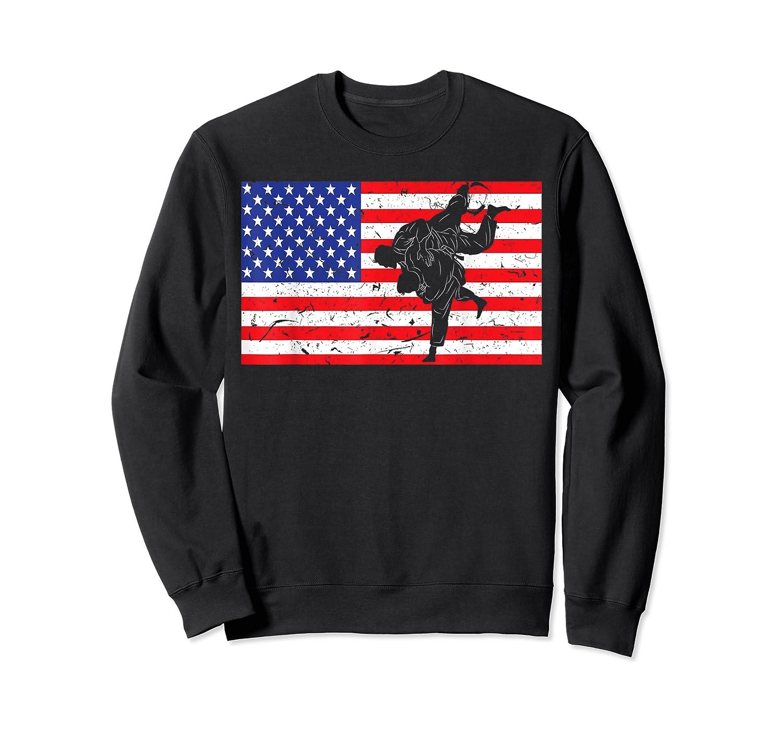 Distressed Judo Gi Usa American Flag Vintage Martial Arts T-shirt Crewneck Sweater