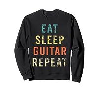 Retro Eat Sleep Guitar Repea Player Tea Rock Band Shirts Sweatshirt Black