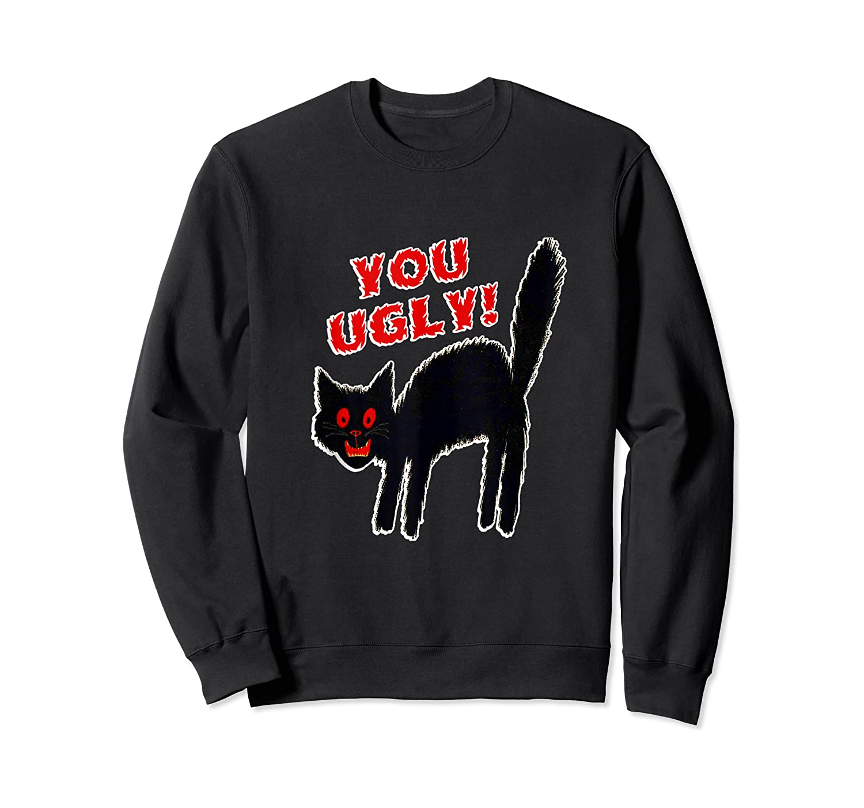 Funny Halloween Scary Black Cat Horror Gift Creepy Black Cat Shirts Crewneck Sweater