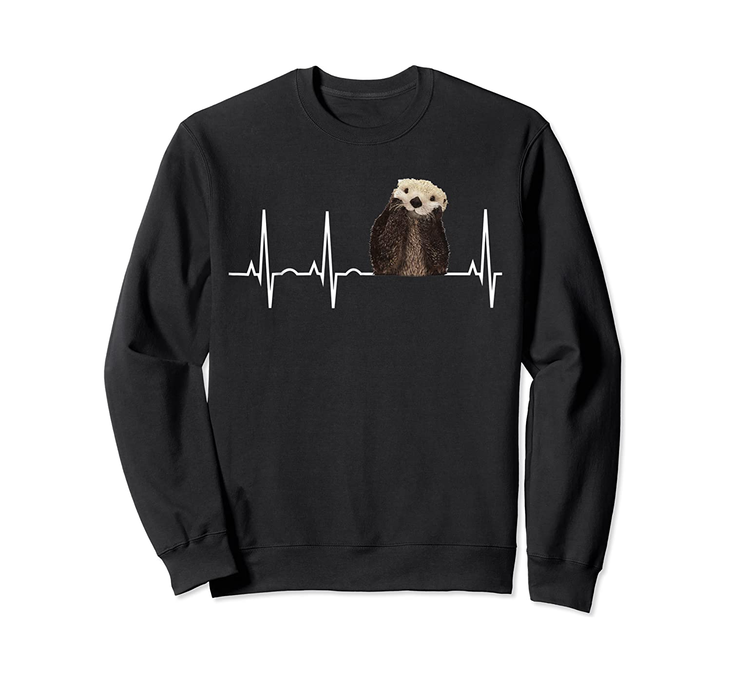 Otter Heartbea Cute Otter Lover Gift Shirts Crewneck Sweater