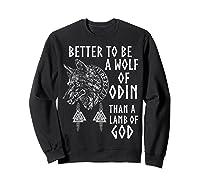 Vikings Wolf Rune Circle Wolf Of Odin Norse Mythology T-shirt Sweatshirt Black