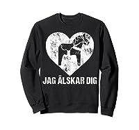 Scandinavian Valentine's Day Dala Horse Jag Alskar Dig Shirts Sweatshirt Black