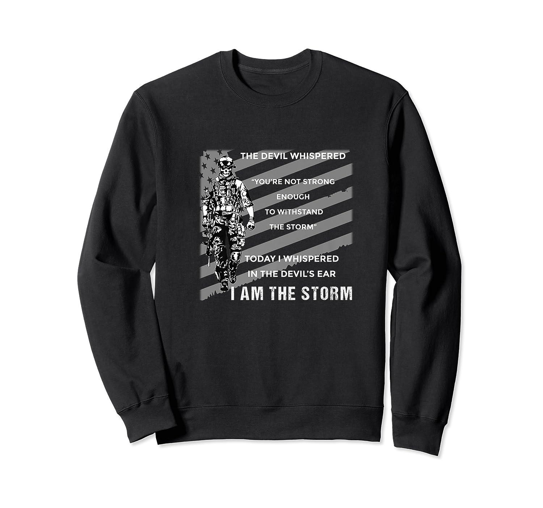 Military Combat Veteran Proud Patriot Us Flag I Am The Storm Premium T-shirt Crewneck Sweater