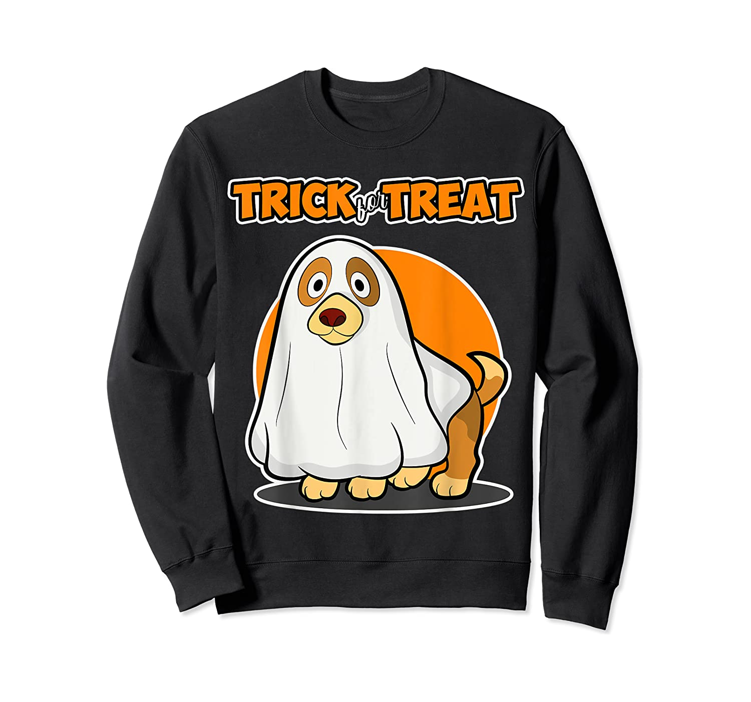 Dog Ghost Halloween Party Trick For Treat Shirts Crewneck Sweater