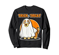 Dog Ghost Halloween Party Trick For Treat Shirts Sweatshirt Black