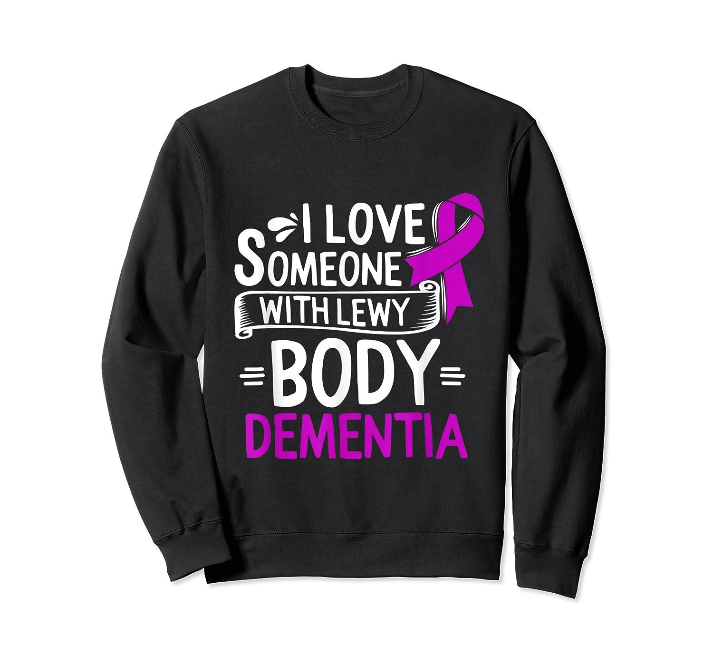 Lewy Body Detia Awareness Purple Ribbon Brain Disease T-shirt Crewneck Sweater