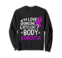 Lewy Body Detia Awareness Purple Ribbon Brain Disease T-shirt Sweatshirt Black