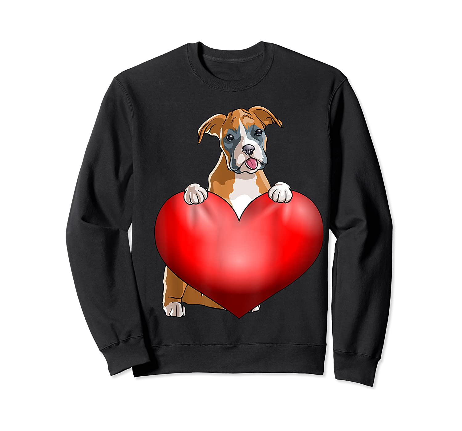 Valentines Day Dog Boxer Heart Gift Girl Shirts Crewneck Sweater