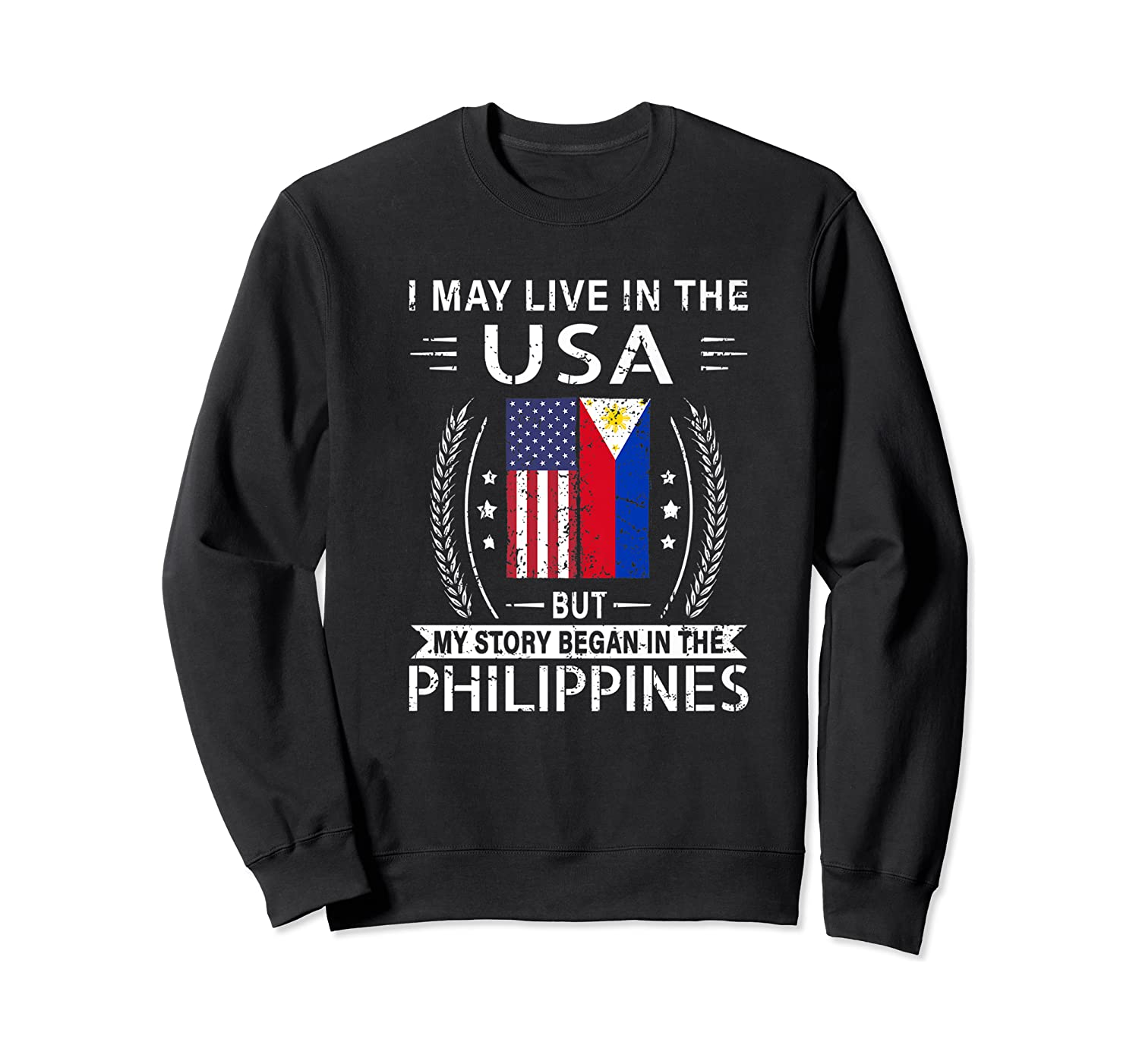 May Live N The Usa The Philippines Flag Shirts Crewneck Sweater