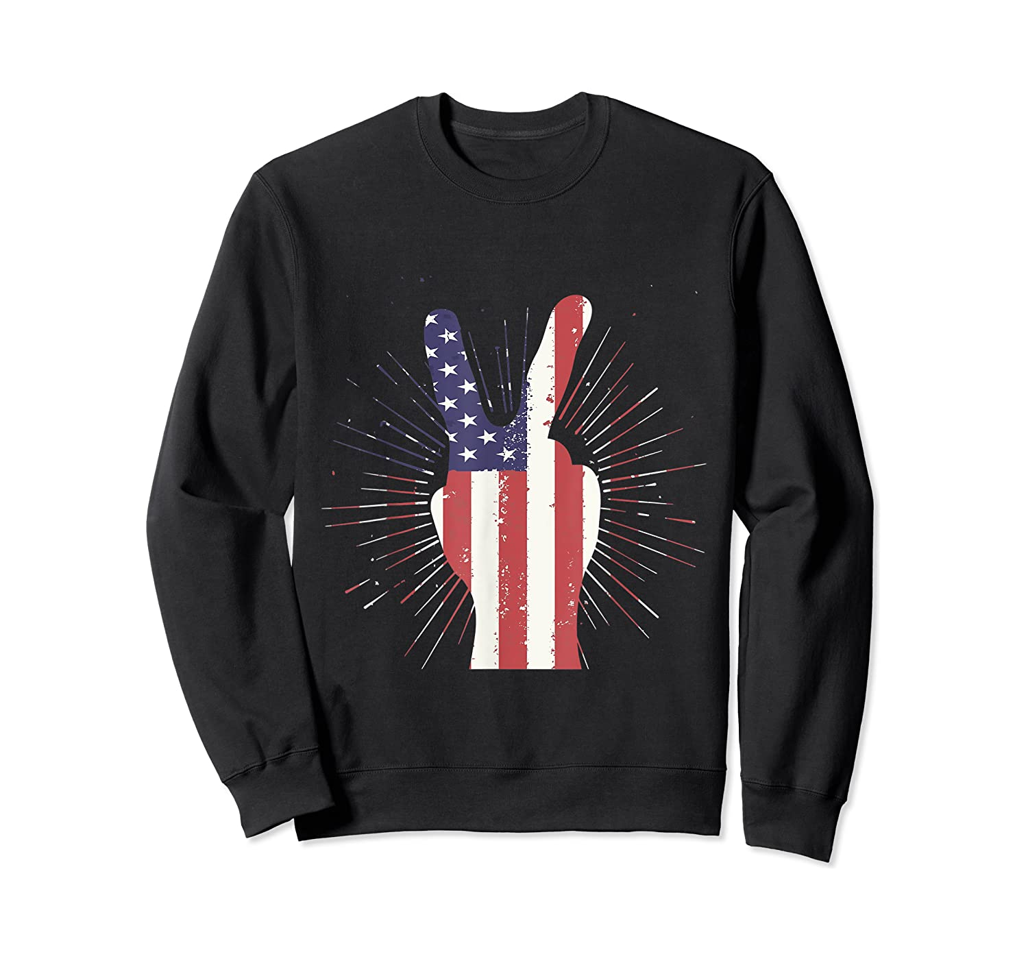 Peace American Flag Funny Gift 4th Of July Shirt Crewneck Sweater