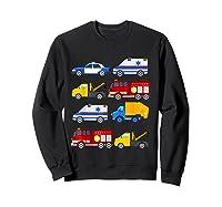 Emergency Vehicles Fire Truck Police Car Ambulance Tow Truck Shirts Sweatshirt Black