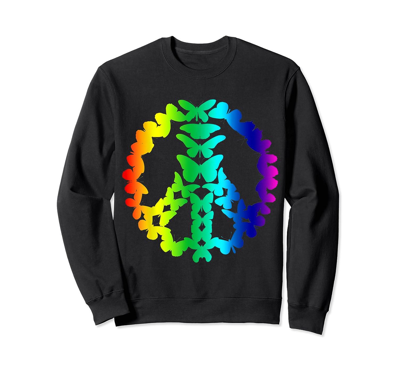 Butterflies Peace Sign Love Butterfly 60s Retro Hippie Gift T-shirt Crewneck Sweater
