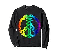 Butterflies Peace Sign Love Butterfly 60s Retro Hippie Gift T-shirt Sweatshirt Black