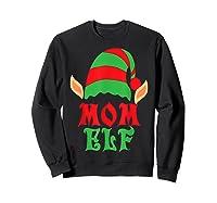 Christmas Mom Elf T Shirt Family Pajamas Xmas Mother Elves T-shirt Sweatshirt Black