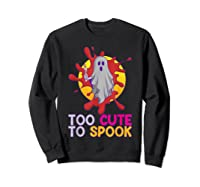 Cute Ghost Girls Costume Spooky Halloween T-shirt Sweatshirt Black