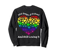Funny 100th Day Of School Tea Heart Valentine Day Shirts Sweatshirt Black